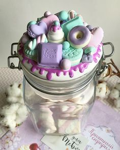 Fimo Polymer Clay, Polymer Clay Creations, Clay Classes, Mother's Day Cookies, Clay Jar, Kawaii Crafts, Jar Art, Mini Things, Pasta Flexible