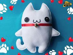 Cute Kawaii White Lucky Cat Plushie, Stuffed Cat Doll with Bell Collar, Kawaii Cat Pillow & Cushion, Christmas Cat Plush #stuffedanimals #plushcat #catplushie #CuteCats #whitecats #kawaiiplushie #kawaii #luckycat #manekineko #kawaiichristmasgift