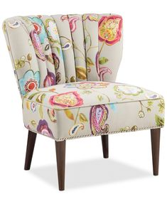 Furniture Lindley Floral Fabric Accent Chair & Reviews - Chairs - Furniture - Macy's Furniture Upholstery, Upholstered Chairs, Furniture Chairs, Furniture Mattress, Upholstery Repair, Upholstery Tacks, Upholstery Cleaning, Furniture Movers, Furniture Sets