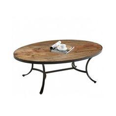 Cocktail Coffee Table Living Room Rustic Furniture Brown Metal Reclaimed Wood #Berkely #RusticPrimitive