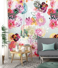 Wall is You I Colorful - wallpaper/fotobehang Home Art, Wallpaper, Color, Wall Murals, Printed Shower Curtain, Creative Home Decor, Wall, Floral Wallpaper, Floral Wall