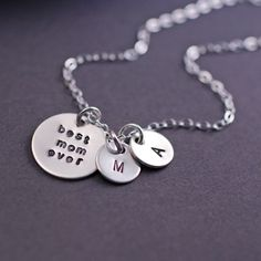 Personalized Best Mom Ever Necklace in Sterling Silver by georgiedesigns