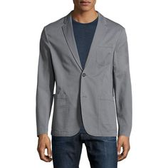 Original Penguin Classic-Fit Stretch Blazer ($125) ❤ liked on Polyvore featuring men's fashion, men's clothing, men's sportcoats, grey and men's sportcoats and blazers