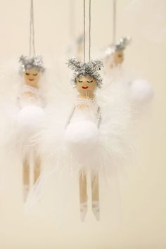 Wooden Fairy Peg Doll white