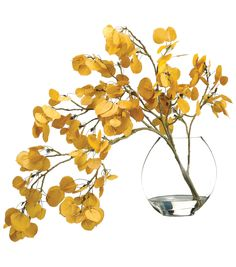 Bloom Room Luxe 24'' Aspen Leaf Spray In Glass-Yellow | Floral Arrangement | Online Only Product