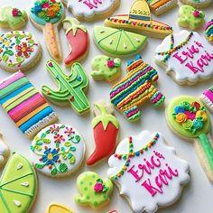 Fiesta Cookies! #fiestacookies #cactuscookies #cookiedecorating #floralcookies #jalapenocookies #pinatacookies #fiestaparty #embroiderycookies