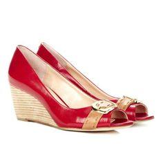 #Red Peep toe wedges - Grace shoe