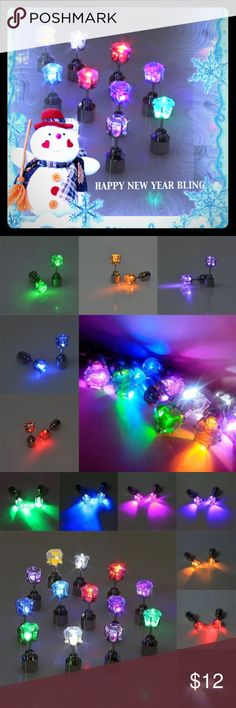 HAPPY NEW YEARS BLING EARRINGS These are darling for parties any time of year!! Stainless steel with crystal led lights that flash different colors! Batteries included and already installed and fresh! Jewelry Earrings