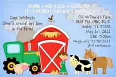 Old Macdonald Birthday Party Ideas - PartyFaqs Farm Birthday, Birthday Parties, Birthday Ideas, Old Macdonald Birthday, Country Fair, Farm Photo, Special Day, Party Invitations, First Birthdays