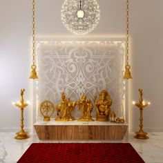 Gold, white and plenty of lights define this Pooja room