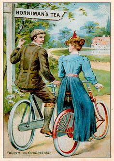 poster/postcard for 'Horniman's Tea ... Worth Consideration' depicts man and woman c.1890-1900 riding bicycles past a signpost reading 'Horniman's Tea'