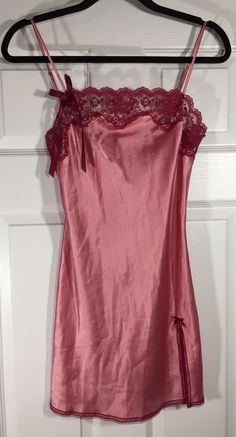 29533405b0f VICTORIAS SECRET Angels PINK Satin Red Lace Babydoll Chemise Nightgown Sz  XS