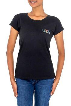 Cotton t-shirt, 'Mission Novica in Black' - Cotton Logo Tee Shirt (image 2a)