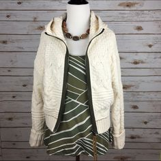 """[Free People] Cable Knit Zip Hoodie Sweater Boho Cuddle up in a richly textured and super soft cable-knit sweater with a contrast front zipper and a drapey hood. Funnel neck. Long sleeves. Braided suede zipper pull. You will want to wear this every day!  Color: Ivory Fabric: 88% Cotton 12% Nylon Size: Medium Bust: 19"""" Length: 20"""" Condition: NWT!  No Trades! No PayPal! Free People Sweaters"""