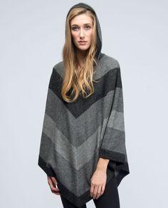 100% Alpaca intarsia hand-loomed chevron stripe poncho with hood      * black/light-grey/grey