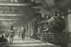 Shrewsbury railway station during the age of steam. Vintage steam train.