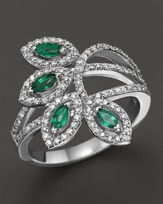 Bloomingdale's Emerald and Diamond Ring in White Gold - Exclusive Jewelry & Accessories - Fine Jewelry - Rings - Bloomingdale's Emerald Jewelry, Bling Jewelry, Diamond Jewelry, Jewelry Rings, Emerald Rings, Ruby Rings, Gold Rings, Bijoux Art Deco, Schmuck Design