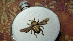 Hip Flask Bee Round Vintage Style Gothic by CosmicFirefly on Etsy, $65.00