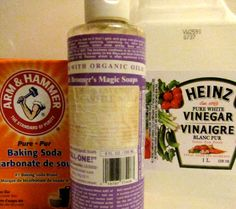 Crafting up cleaning solutions: vinegar + dr. bronners + baking soda. Man do I miss ReadyMade!