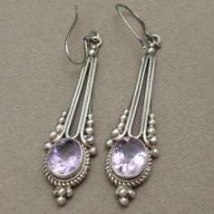 "Sterling Silver Amethyst Drop Earrings Wires Vintage 2"" Long 