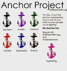 It's ironic how I got one tattooed on my wrist when I was 18 I knew nothing about the anchor project, yet I have one for a quote that gives me hope and this project gives me hope because Of my own personal fight against anxiety Depression Quotes, Semicolon Project, Awareness Tattoo, Mental Disorders, Awareness Ribbons, Create Awareness, Libros, Depressing Quotes