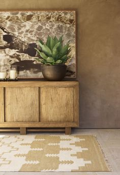 "Ralph Lauren Home Archives, ""Desert Modern"" Living Room detail, ""Inspired by the vast beauty of the Western frontier""// Rug, art, plant Home Interior, Modern Interior Design, Interior Decorating, Decorating Ideas, Deco Champetre, Modern Rustic, Home And Living, Modern Living, Living Room"