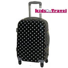 Polka Dot Black and White Cabin Luggage at KidsDoTravel http://kidsdotravel.co.uk/childrens-suitcases/suitcases-for-girls/polka-dot-black-and-white-20-suitcase