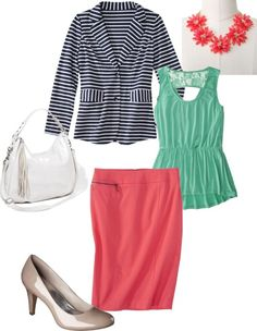 Reverse with stripe skirt, mint blazer, coral top
