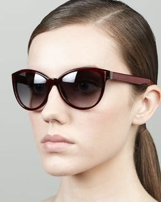 Tortoise Cat-Eye Sunglasses, Red Havana  by Marc Jacobs at Neiman Marcus.