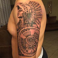 amazing aztec tattoo design Warrior Tattoo Sleeve, Aztec Tattoos Sleeve, Aztec Warrior Tattoo, Aztec Tattoo Designs, Tattoo Designs For Women, Body Tattoos, Hand Tattoos, Tatoos, Tattoos For Guys