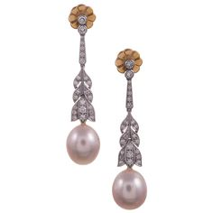 Lucie Campbell Pearl Diamond Gold Drop Earrings | From a unique collection of vintage drop earrings at https://www.1stdibs.com/jewelry/earrings/drop-earrings/