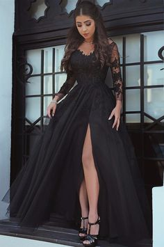 Fashion A-Line Long Sleeves Split Front Black Long #prom #promdress #dress #eveningdress #evening #fashion #love #shopping #art #dress #women #mermaid #SEXY #SexyGirl #PromDresses