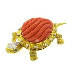 Exquisite Carved Coral Emerald Diamond 14k Gold Turtle Brooch Pin | Oak Gem
