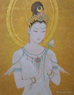 Kannon(Kuan Yin no Japão ) Affection by Ichiro Tsuruta. Kumamoto, Kunst Portfolio, Amakusa, Oriental, Guanyin, Hindu Art, Buddhist Art, Japanese Painting, Japan Art
