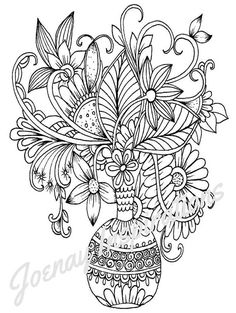 Adult Coloring Book, Printable Coloring Pages, Coloring Pages, Coloring Book for Adults, Instant Download, Fancy Flowers 3 page 2