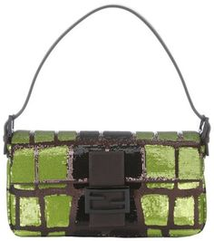 Fendi green and black sequin and leather baguette