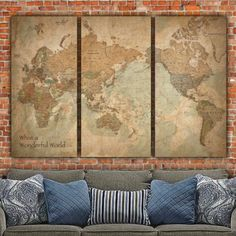 Fantastic Vintage World Map Art, Gallery Wrapped Canvas with vintage colors and Country Boundaries. This map set makes a beautiful statement on any home or office wall. Beautiful vintage earth-toned c