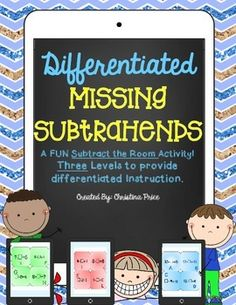 """Students will have a blast searching the room for missing numbers in subtraction! This activity uses """"smart phone"""" and """"tablet"""" styled recording sheets. Three different levels are provided. Levels can be used all at once to provide differentiation among learners or used as three separate activities."""