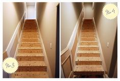 removing carpet and adding side wall molding! then hardwood on the stairs