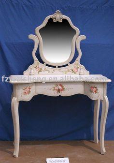 | Victorian Antique White Wooden Handpainted-flower Dressers Photo ...