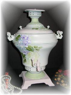 vintage ice bucket,  shabby hand painted hydrangea,  vintage-to-chic on ebay.com