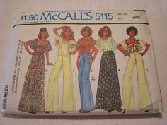Vintage 1976 McCalls 5115 Sewing Pattern Skirt Top Pants Embroidery Transfer NEW