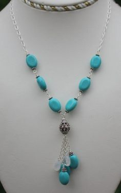 Handmade Gemstone Necklace Turquoise Sterling by justbethlevey, $80.00