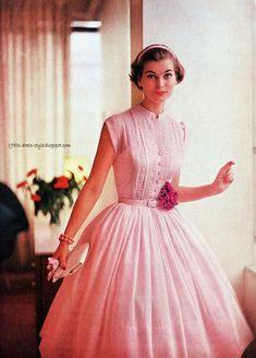 Jan Rylander | 1950s Dress Style pink fit flare dress full skirt sleeveless pale buttons belt color photo print ad model magazine sheer cotton chiffon