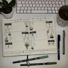 My weekly spread for day 4 of @archerandolive #AOdotgridchallenge ! I think I never worked so consistently in my bujo, I'm proud haha #bujojunkies #weeklyspread #bujo #leuchtturm1917 #tombow #bulletjournal #plants #succulents #vines