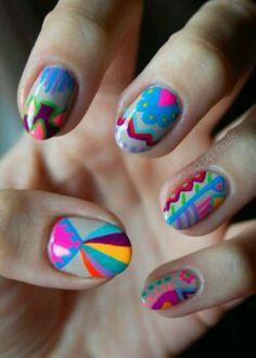 c2712ab54e Mexican style Trendy Nails, Cute Nails, Funky Nails, Crazy Nails, Nail Art