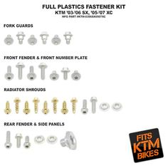 Bolt Plastic Fastener Kit KTM XC 05-07