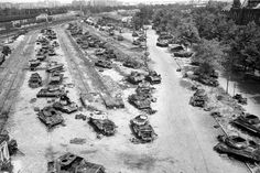 All kinds of wrecked Soviet and German tanks, which were destroyed during the battle of Berlin, 1945 Berlin 1945, West Berlin, History Online, Germany Europe, Total War, Red Army, Panzer, Cold War, Military History