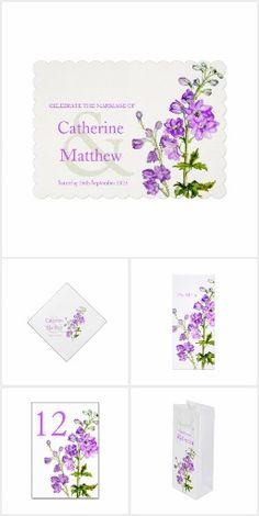 Delphinium purple watercolor botanical wedding collection © by Sarah Trett #wedding #delphiniums #weddinginviations #weddingtables