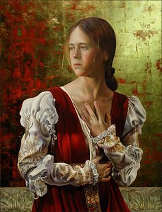 Fred Wessel Tempera with Gold Leaf, the Red Dress